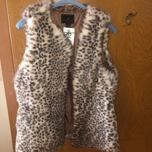 Faux fur cheetah vest